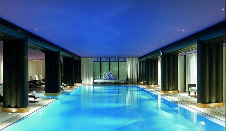 Indoor luxury pool of 5 star La Reserve Hotel & Spa Geneva, Switzerland,
