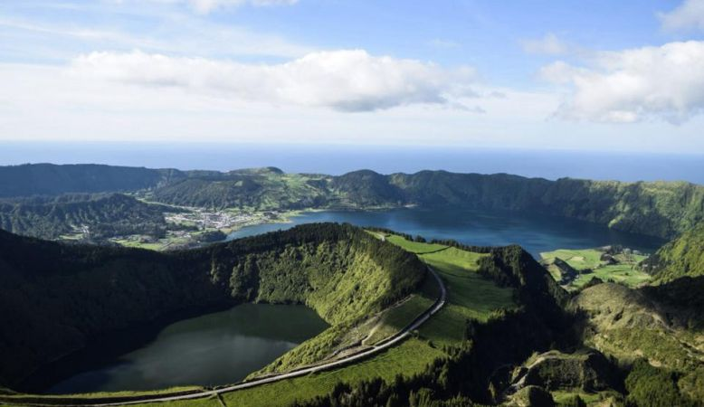 The sweeping natural landscapes shaped by volcanos of São Miguel, Azores, Portugal