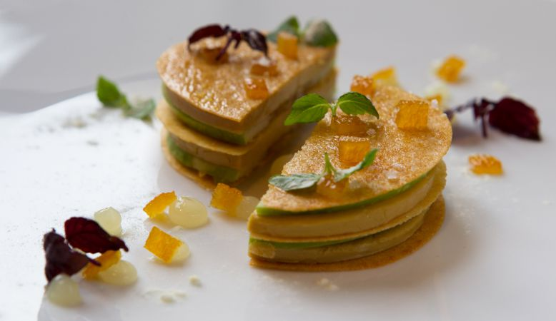 Photo of gourmet food by Chef Jérôme Banctel of Michelin La Gabriel Restaurant Paris at La Reserve Hotel