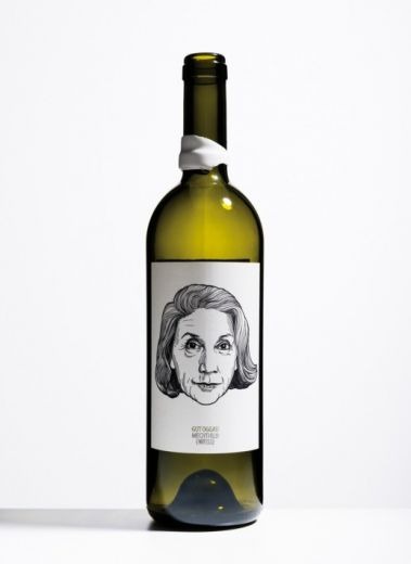 a bottle of wine from Austria's best biodynamic winery, Gut Oggau, with label drawn by artist Jung Von Matt