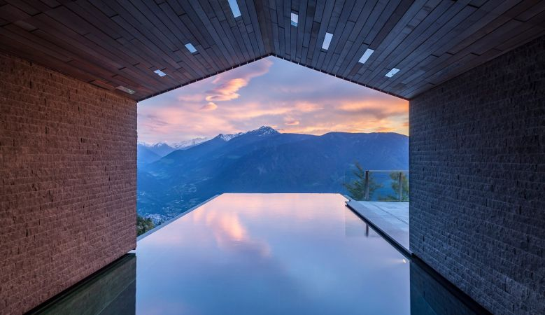 Alpine infinity pool at the Sap of the Miramonti Luxury Hotel, Halfling, South Tyrol, Italy