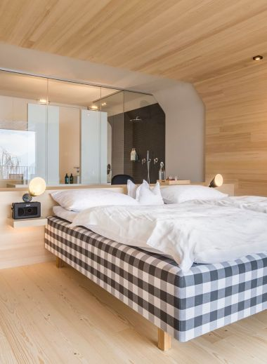 Design Bedroom at the Miramonti Boutique Hotel Hafling/Avelengo in South Tyrol, Italy