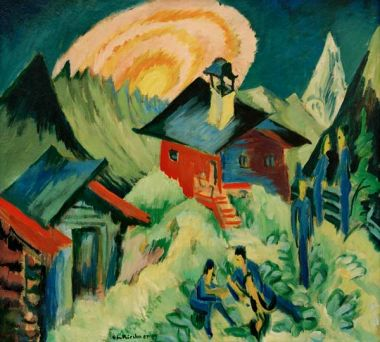 Moonrise on the Stafelalp, 1917  Oil on canvas, 80 x 90 cm, Kirchner Museum Davos, on loan from the Rosmarie Ketterer Foundation