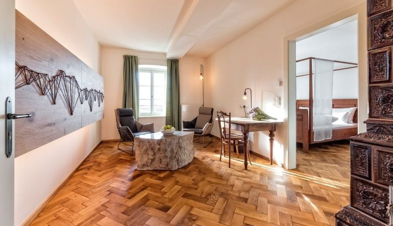 A renovated room from Niedermairhof, a boutique hotel in South Tyrol's Bruncio