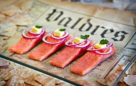 Valdres Rakfisk Foodie Festival, Norway. Semi fermented Trout fish delicacy.