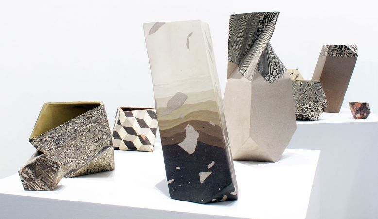 Patrick Parrish Gallery in the design district of Tribeca, New York. Picture of marble and stone sculptural pieces