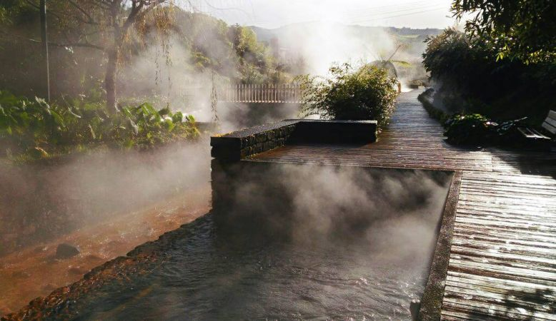 Photograph of the architectural masterpiece that is São Miguel's Poça da Dona Beija thermal spring in the Azores