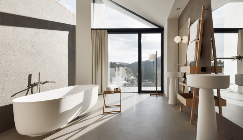 Luxury hotel bathroom interior design - at the Hotel Schgaguler Castelrotto in Alpe di Siusi South Tyrol designed by Peter Pichler Architecture