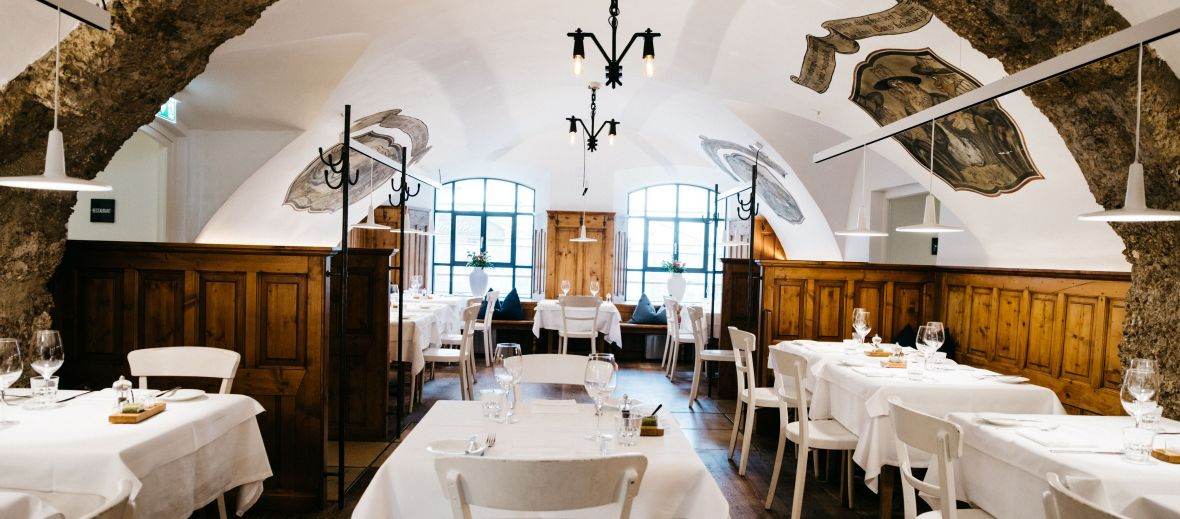 Fabulous Medieival dining rooms serving Delicious region dishes at the Arthotel Blaue Gans in Salzburg, Austria