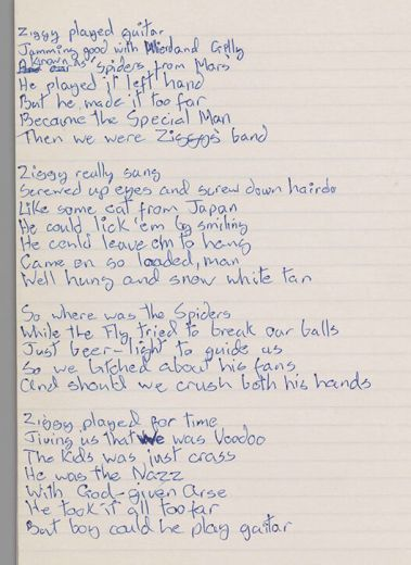 Original lyrics for 'Ziggy Stardust,' by David Bowie, 1972. Courtesy of The David Bowie Archive. Image © Victoria and Albert Museum, David Bowie, exhibition, gallery, Museu Del Disseny, Barcelona