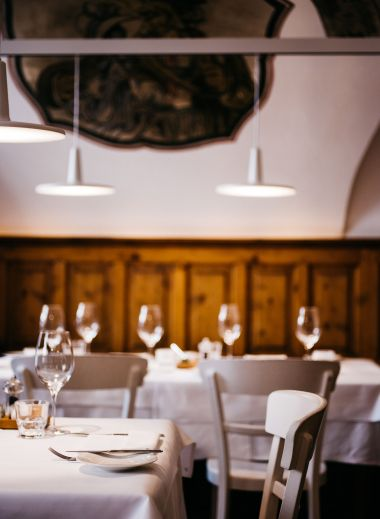 Serving food since 1350 Medieval dining rooms of the Arthotel Blaue Gans in Salzburg, Austria