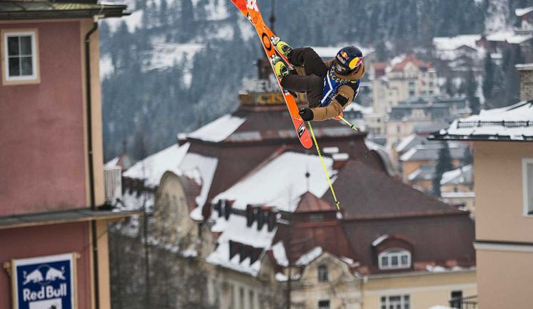 Ski jumping in action in Bad Gastein, Red Bull Playstreets