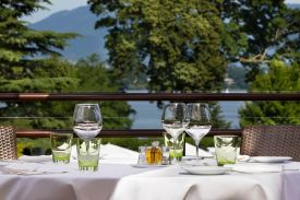 La Réserve Hotel and Spa Genève's newly opened Summer Lodge, Alfresco dining on Lake Geneva