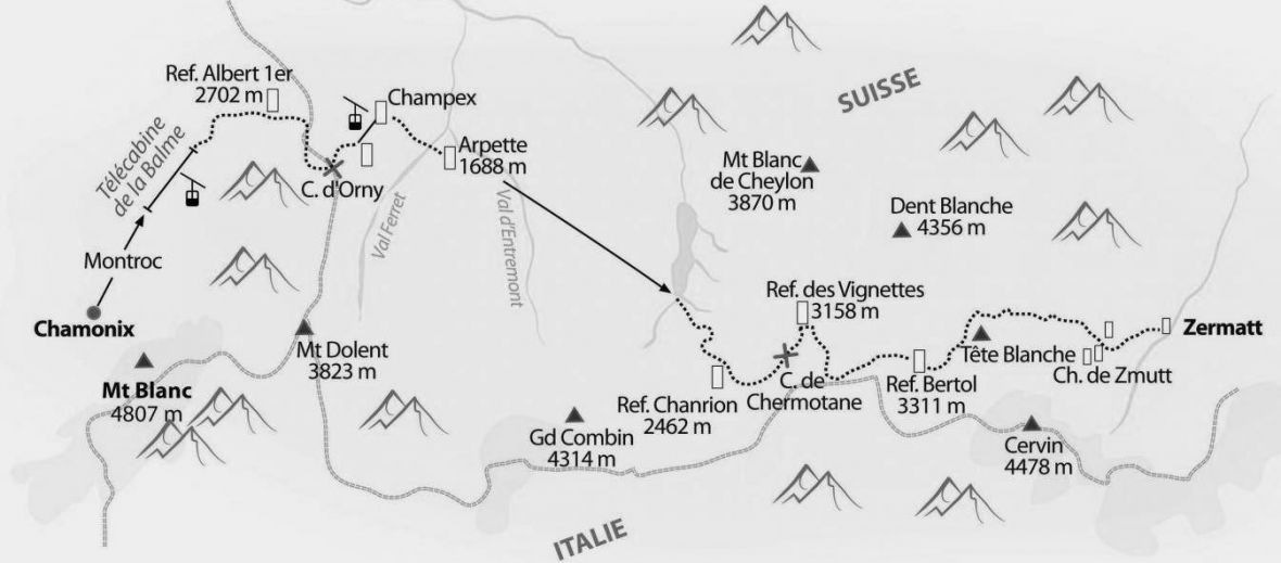 black and white map of the haute route, from Chamonix in France to Zermatt in Switzerland
