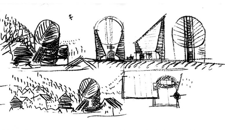 Architect sketches drawings by Mario Botta's church of San Giovanni Battist