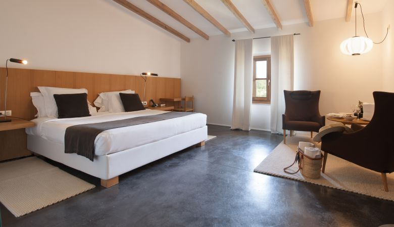 Design bedroom interiors of the luxury Hotel Son Brull Pollença Mallorca