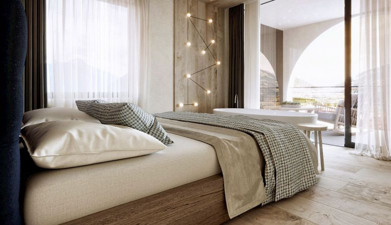 Gloriette Boutique Hotel Soprabolzano - Luxury Design Bedroom designed by noa architects, overlooking the Dolomites in South Tyrol, Italy