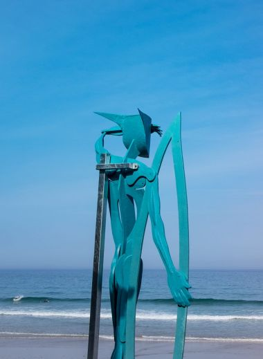 Warrior of the Surf is a statue by artist and sculpture Richard Austin, Watergate Bay Hotel Cornwall, England