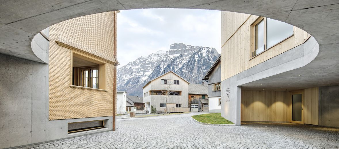 Tempel 74 Mellau in Bregenz | Design Apartments | Modernist architecture with Fir Pine and concrete structures of traditional building methods of Vorarlberg
