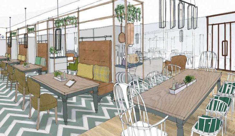 An artist's impression of the Living Space at new hotel The Lake on Lake Ullswater, the Lake District, comfort, cool, style, design