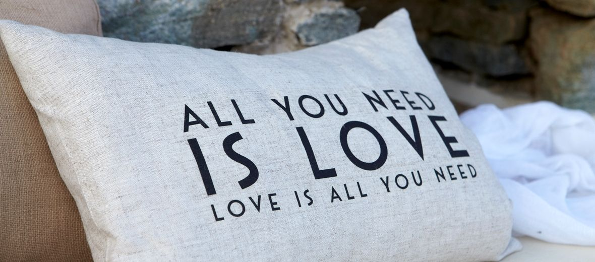 All You Need is Love cushion at Diles & Rinies luxury Villas, Tinos