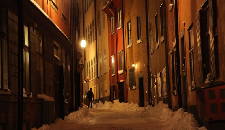Snowy streets of Stockholm, old town, winter night