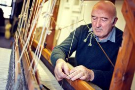 Eddie Doherty, handwoven Irish tweed, in Donegal, Ireland