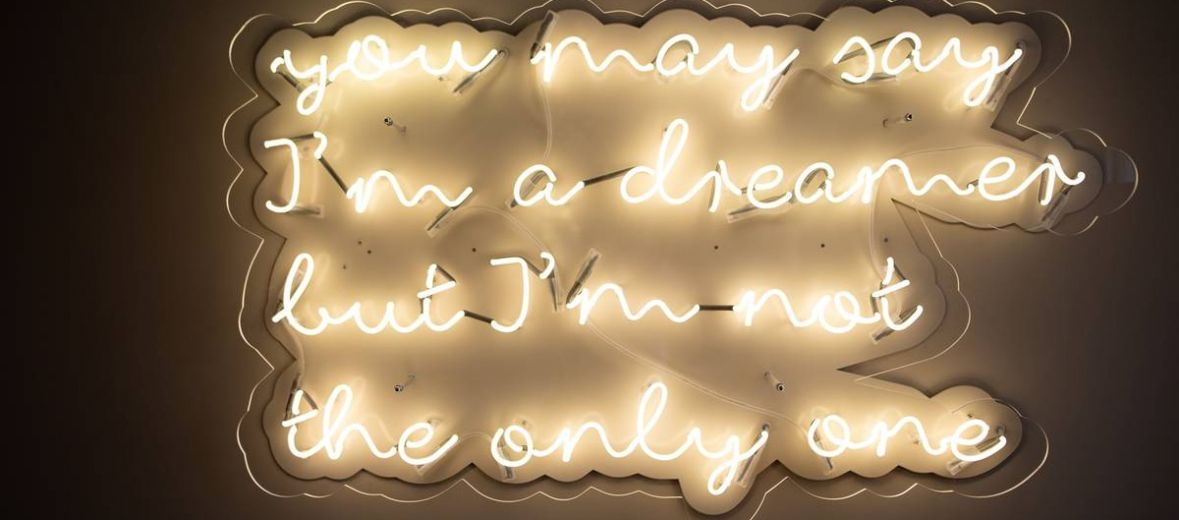 Neon Edison | Firma Sygns: You may say I'm a dreamer, but I'm not the only one. John Lennon's IMAGINE, neon art in the United Nations Suite Altstadt Hotel Vienna, Austria
