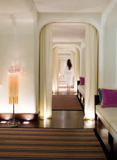 Fabulous spa designed by Jacques Garcea at the luxury hotel and spa, La Reserve Geneva, seashell lamps, interiors, 5 star,