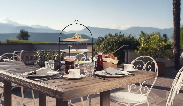Outdoor sun teracces Das Wanda boutique hotel, in Caldaro/Kaltern, South Tyrol