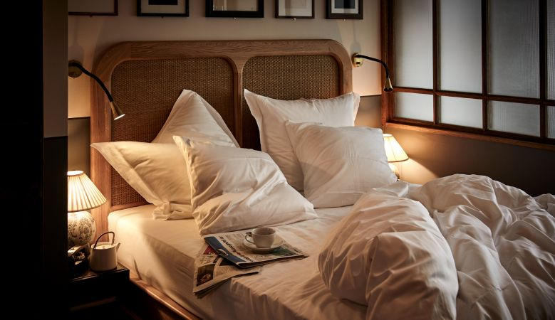 Sanders Copenhagen - Hotel Design by Lind + Almond - ruffled bed, out of bed photo, deluxe bedroom, designer bed, comfy hotel rooms