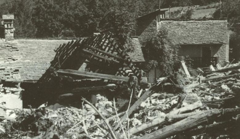 the avalanche of April 25, 1986 - the destroyed church of San Giovanni Battista