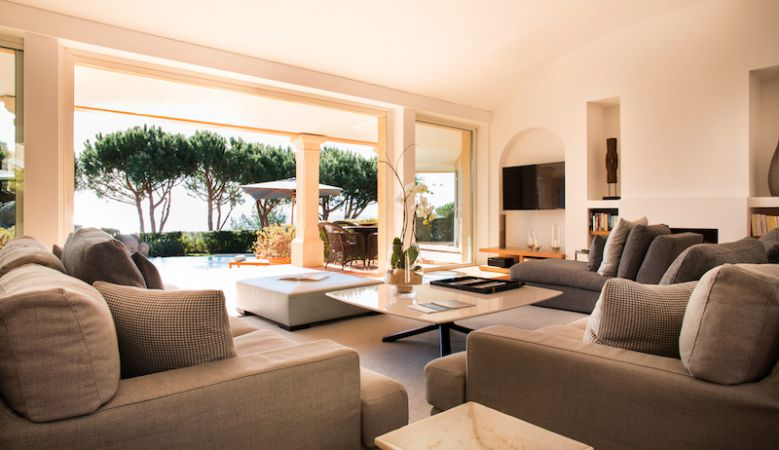 Contemporary Villa Lounge with amble seating for gatherings and family holiday rentals