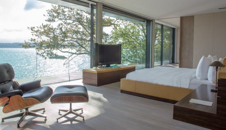 Exclusive luxury Villa de Lac at Le Reserve Hotel Geneva with designer furnishings and views of Lake Geneva