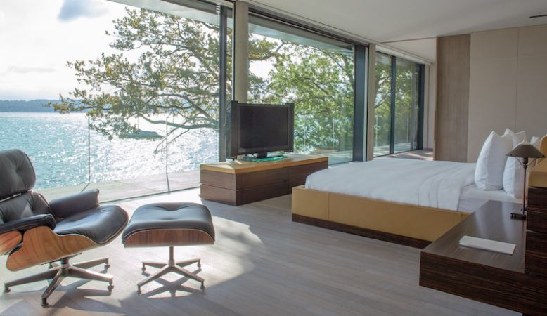 Rémi Tessier designed Master Bedroom with views across Lac Leman in Geneva at the private Villa Du Lac - villa rental