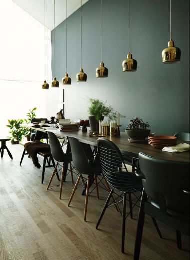 Contemporary long dining table, and chairs designed by Ilse Crawford for Ikea