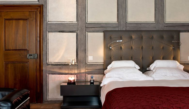 Boutique bedroom of the luxury hotel Widder Zurich, Switzerland