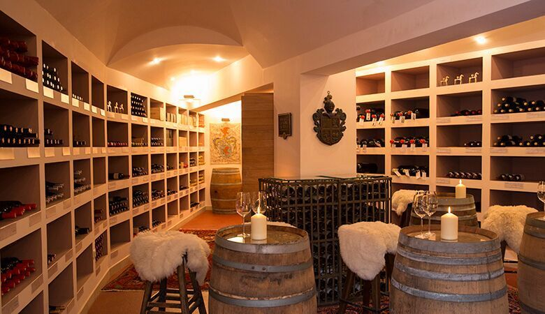 Wine cellars of the Hotel Bergwelt, Obergurgl in Tirol, Austria. A luxury boutique Spa Hotel