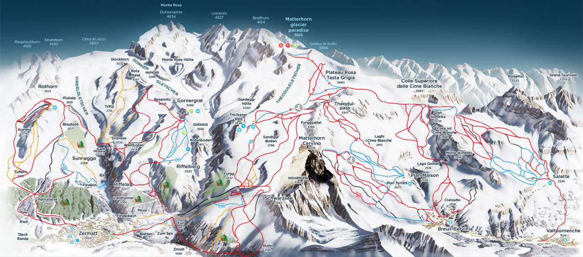Map of Ski and piste runs Zermatt, Matterhorn, alps,