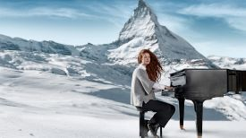 Zermatt Unplugged Music Festival next to the Matterhorn Mountains, Switzerland, piano
