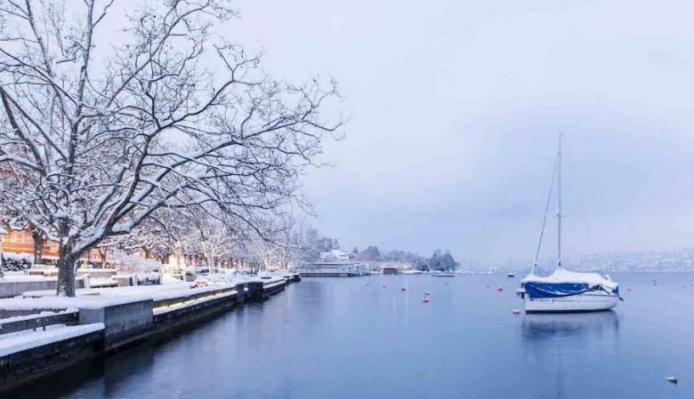 winter river in zurich at christmas time, snowy and cold and pretty